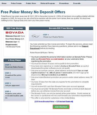 Free no deposit poker offers